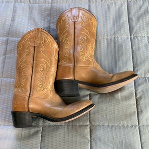 Old West Tan Leather Cowboy Boots Kids Sz 5.5